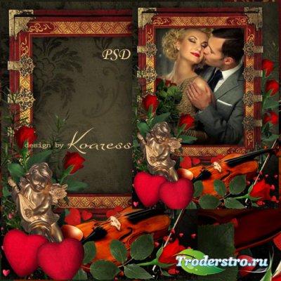 Романтическая рамка для фотошопа с ангелом для влюбленных -  Музыка любви