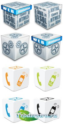 Web graphics icons elements 3D boxes (Vector)