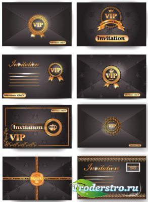 VIP cards decorated with gold ornament (vector)