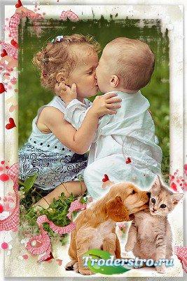 Детская рамочка для фотошопа - Моя первая любовь