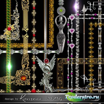 Золотые и серебряные металлические рамки с драгоценными камнями для фотошоп ...