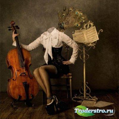 Шаблон для фотомонтажа - Девушка с контрабасом
