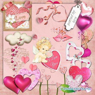 Клипарт на прозрачном фоне - Розовые сердца в png