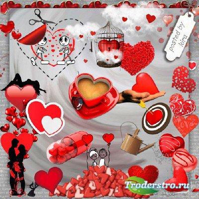 Клипарт ко дню святого Валентина - Красные сердца на прозрачном фоне