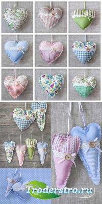 Текстильные сердечки - растровый клипарт