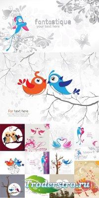 Фоны с влюбленными птичками - векторный клипарт