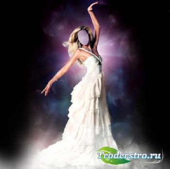 Шаблон женский - Грациозная девушка в красивом платье белом