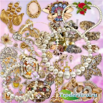 Драгоценности, камни, жемчуг, украшения на прозрачном фоне