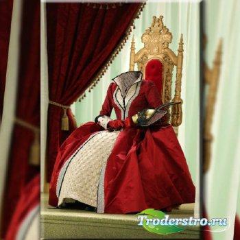 Шаблон женский - На троне в красном платье