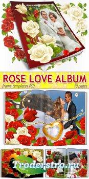 Фотоальбом - гламурные сердца из цветов влюбленные (10 PSD pages)
