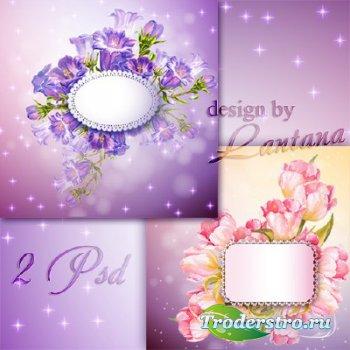 PSD исходники - Поздравительные открытки с колокольчиками и тюльпанами