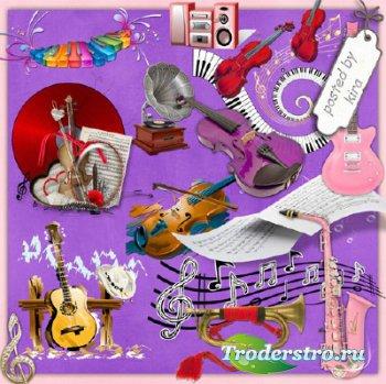 Музыкальный клипарт и изображения нот на прозрачном фоне
