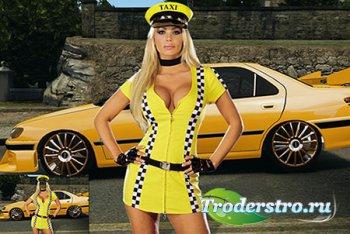 Женский фотошаблон - Таксистка