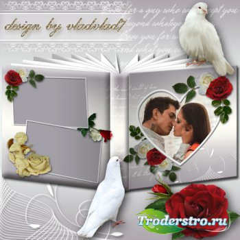 Романтический фотоальбом с белыми и красными розами - Влюбленным
