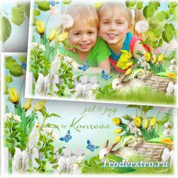 Весенняя детская рамка для фотошопа с цветами, птичкой и кроликом - Зеленая ...