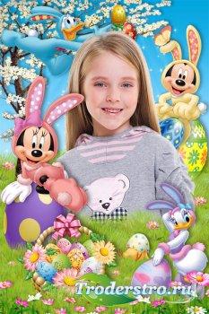 Детские пасхальные рамки для оформления портретного фото - Герои Диснея