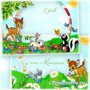 Детские фоторамки с персонажами мультфильма Бэмби - На цветочной лужайке