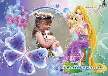 Детская рамка для фото - Принцесса Рапунцель с питомцем