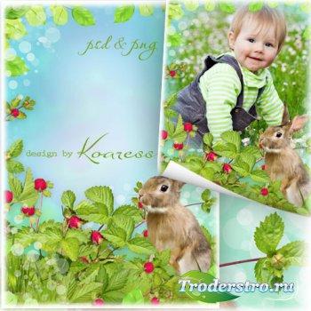 Детская рамка для фото - На  полянке с зайчиком