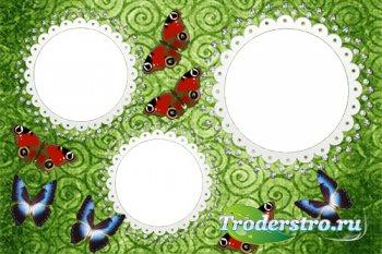 Рамка на 3 фото - Алмазы и бабочки