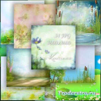 Фоны для дизайна с цветами и полянами - на лугу, на реке, на лесной поляне