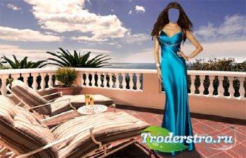 PSD шаблон для девушек - В вечернем платье на море
