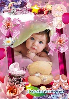 Детская фоторамка в PSD - Мой первый день рождения
