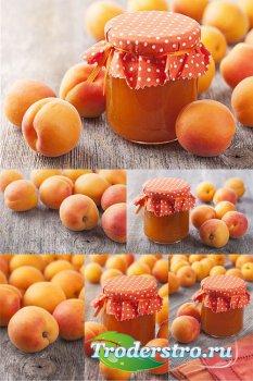 Абрикосы и абрикосовое варенье - растровый клипарт