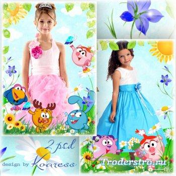 Детские фоторамки со смешариками - Цветы для Нюши