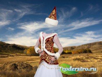 Шаблон psd женский - В национальном наряде Казахстана