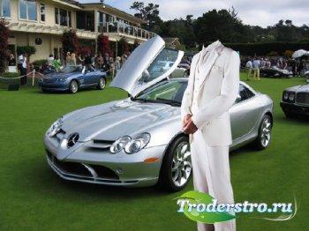 Шаблон psd - В белом костюме с классным автомобилем