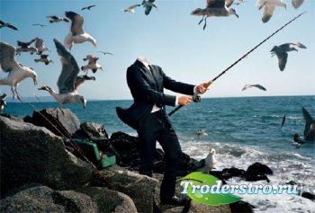 Мужской фото шаблон - С офиса на рыбалку