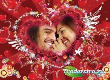 Фоторамка в PSD – Любовь двух сердец