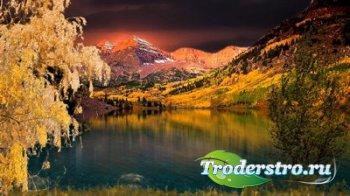 Футаж - Осеннее озеро в горах