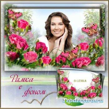 Рамка с фоном для коллажа - Аромат цветущих роз