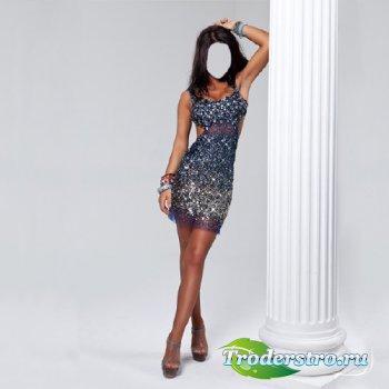 Фото шаблон - Красавица в вечернем платье возле колоны