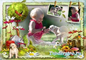Детская рамочка для фото - Наше счастливое детство