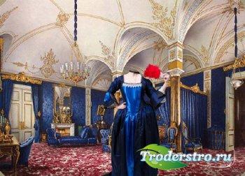 Шаблон psd женский - Барышня в платье во дворце