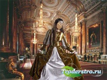 Шаблон для фото - В царском дворце в старинном платье