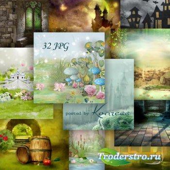Набор jpg фонов для коллажей - Волшебный мир