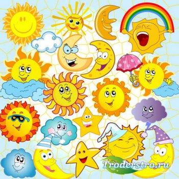 Солнце с тучками и месяц - psd files
