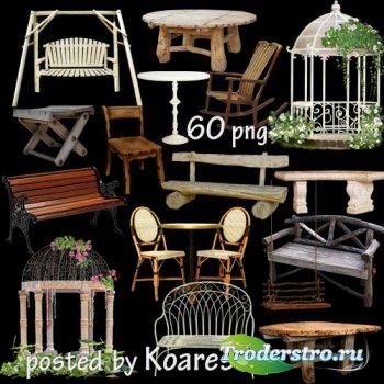 Столики, стулья, табуреты, лавочки и другая мебель для дачи, сада - клипарт ...