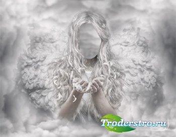 Шаблон для фотомонтажа - Белый ангел на небе
