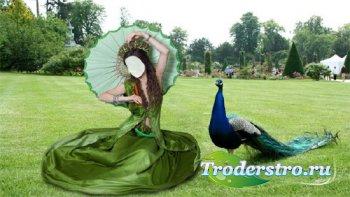 Шаблон женский - На лужайке в зеленом платье и зонтом