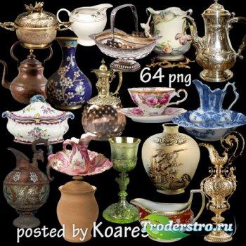 Клипарт на прозрачном фоне - кувшины, вазы, чашки, чайники, кубки - старинн ...