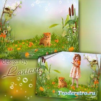 PSD исходник для деток - С утра на лужайку бегу я с котом