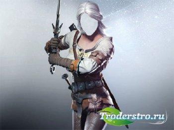 Шаблон для фото - Девушка воин с мечом