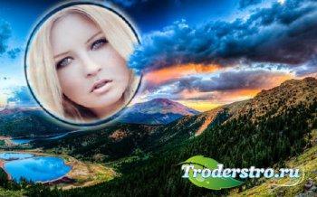 Рамка для фото - Красивый закат среди гор