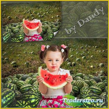 Шаблон для фотошопа - девочка в поле с арбузами