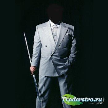 PSD шаблон для мужчин - В серебряном костюме с тростью